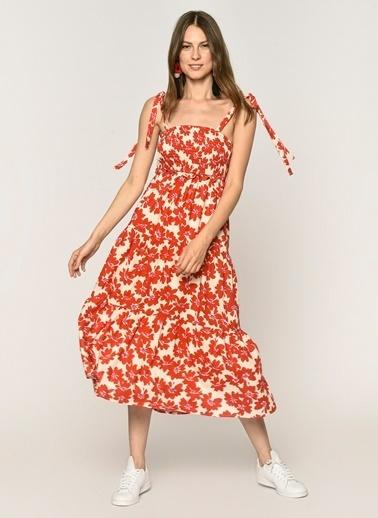 Loves You Göğsü Gipeli Askılı Astarlı Elbise Kırmızı